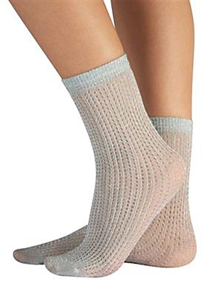 Chaussettes argentées à motif crochet