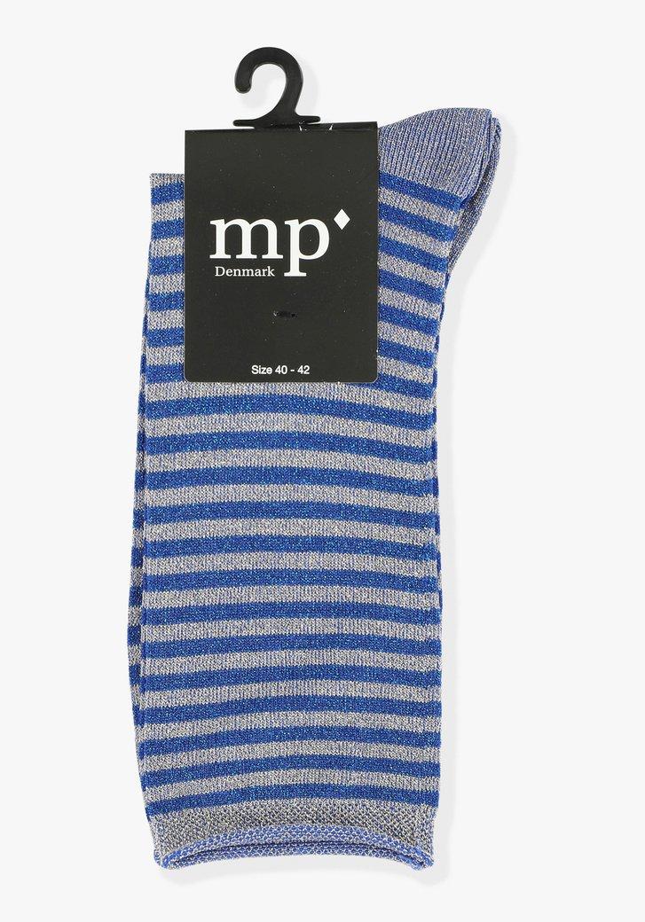 Chaussettes bleues pailletées à rayures
