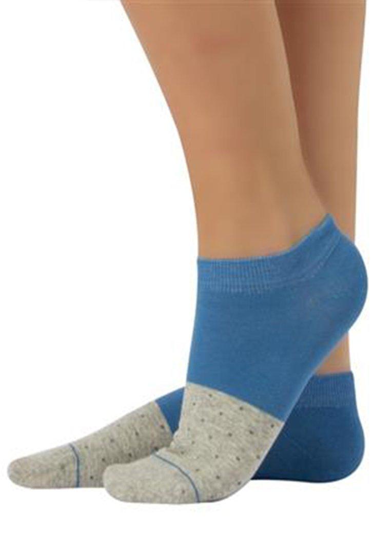 Chaussettes en coton bleu-gris à pois fins