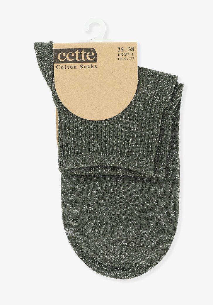 Chaussettes kaki à fil pailleté