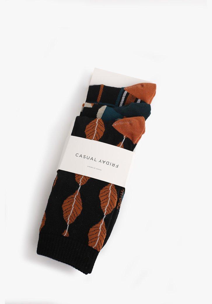 Chaussettes noires avec imprimé coloré - 3 paires