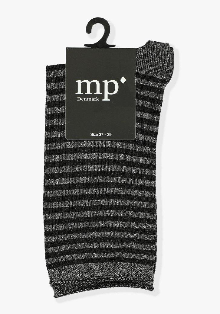 Chaussettes noires pailletées à rayures