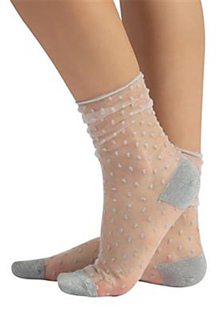Chaussettes transparentes avec à pois blancs