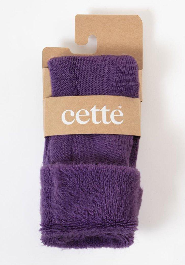 Chaussettes violet avec fausse fourrure