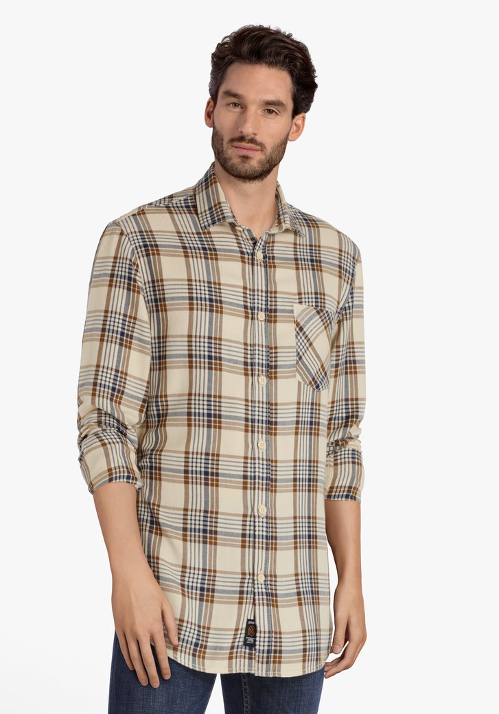 Chemise à carreaux beige-brun - regular fit
