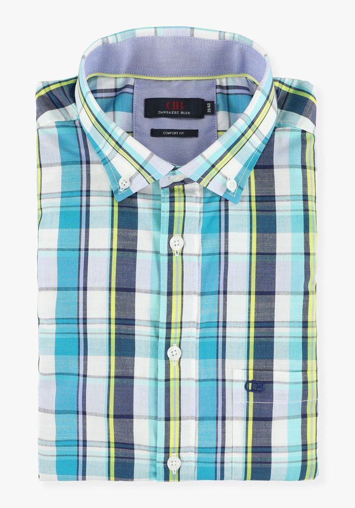 Chemise à carreaux blanc-bleu - comfort fit
