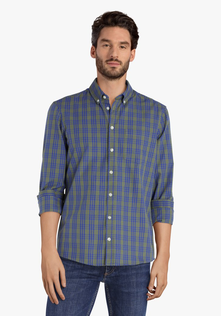 Chemise à carreaux bleu kaki - regular fit