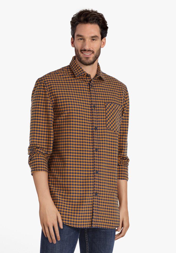 Chemise à carreaux bleu ocre