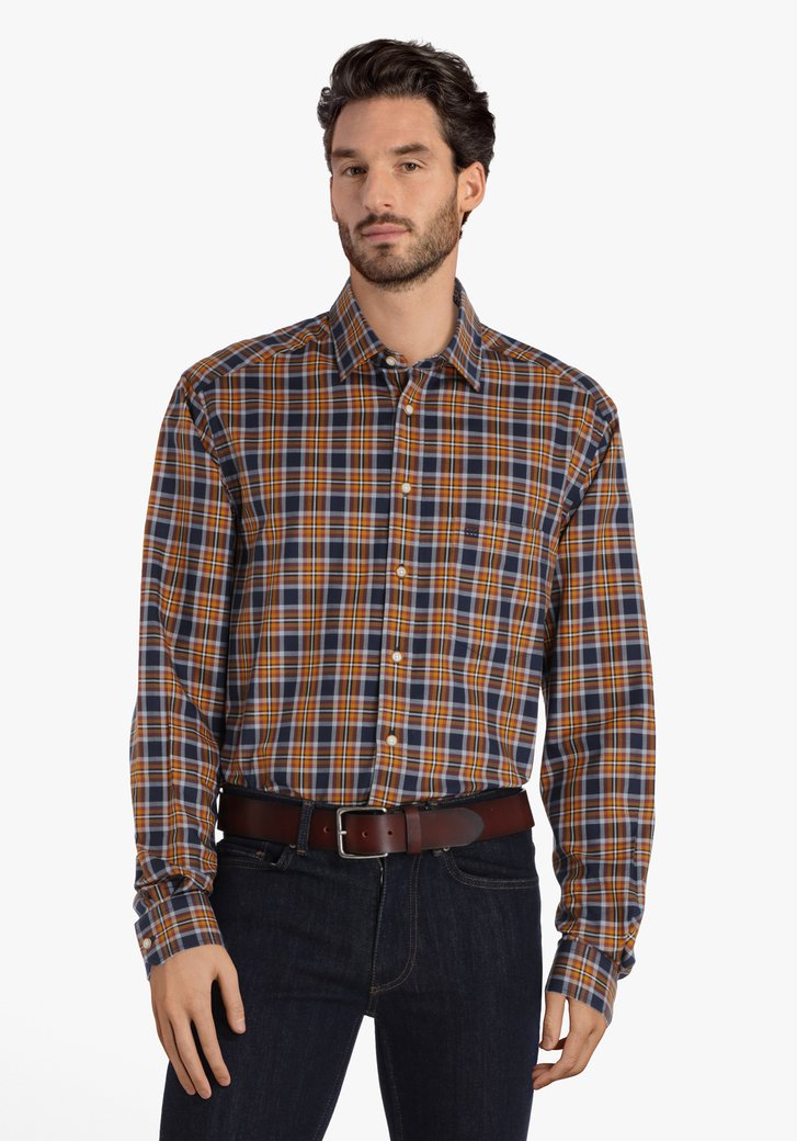 Chemise à carreaux brun-bleu