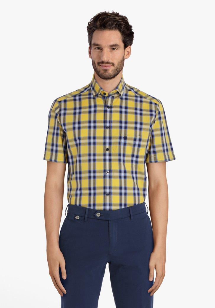 Chemise à carreaux jaune-bleu – regular fit