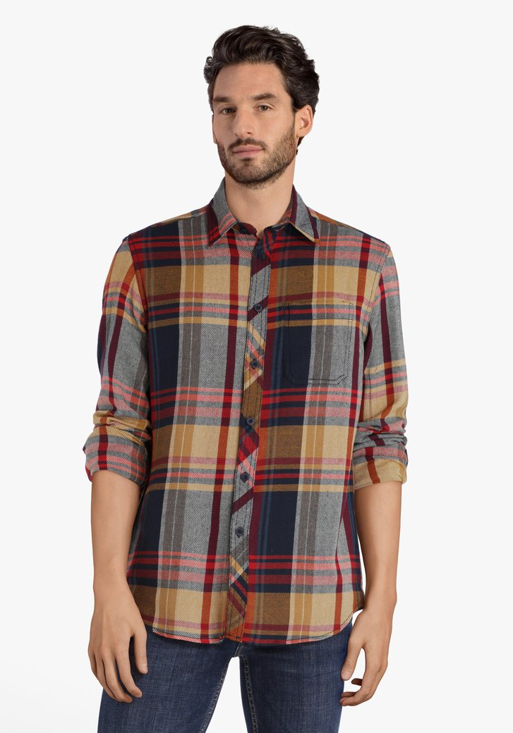 Chemise à carreaux ocre avec couleurs
