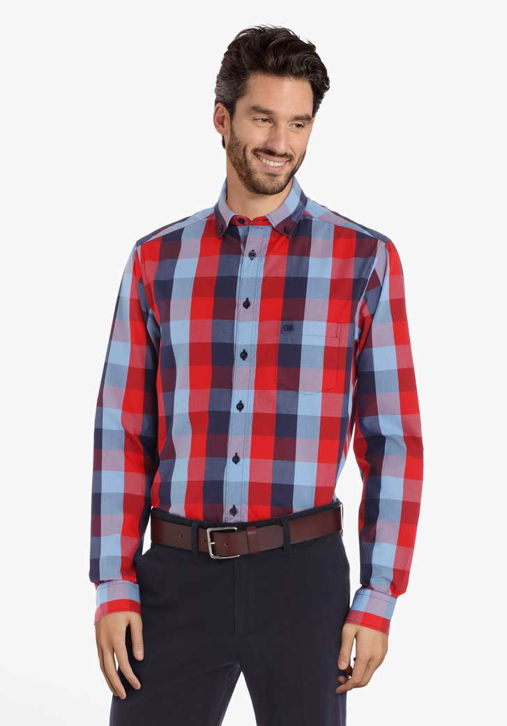 Chemise à carreaux rouge-bleu marine – regular fit
