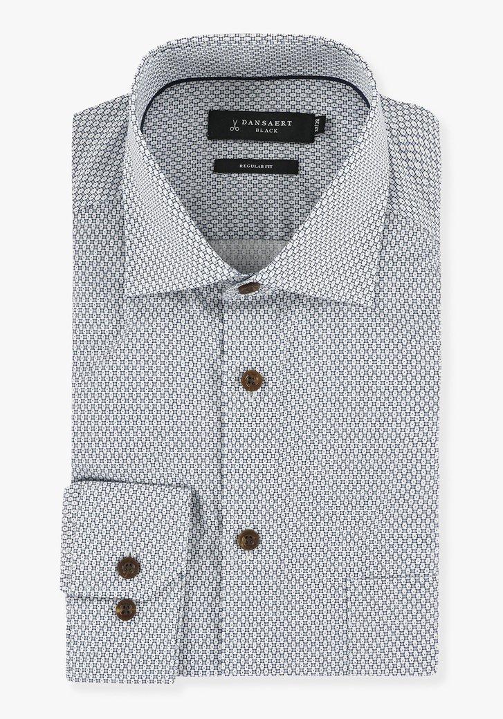 Chemise à imprimé blanc et bleu - regular fit