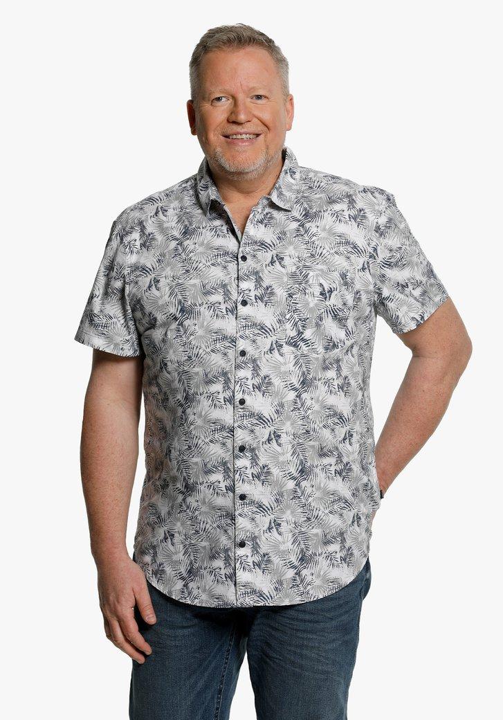 Chemise blanc à imprimé de feuilles bleu-gris