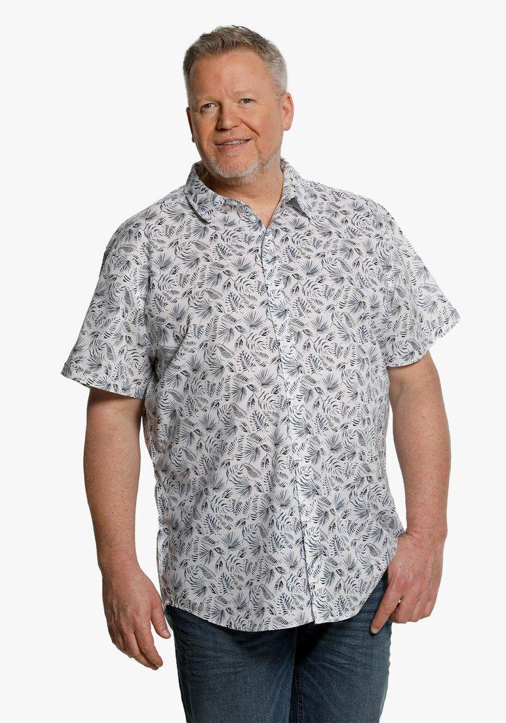 Chemise blanc à imprimé de feuilles bleues