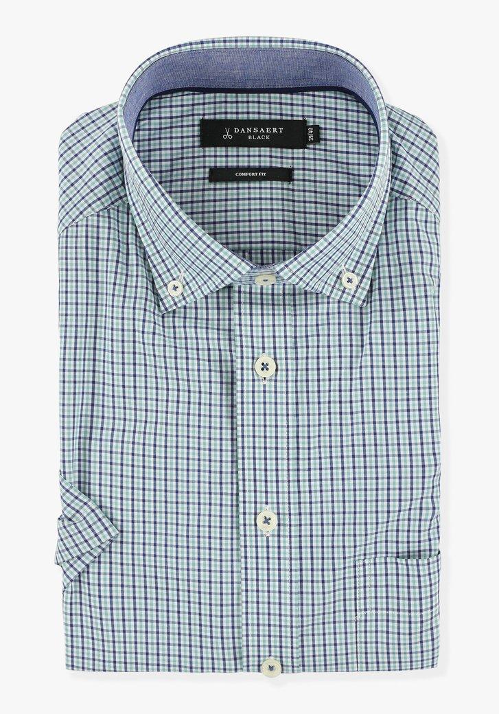 Chemise blanche à carreaux bleu-vert - comfort fit