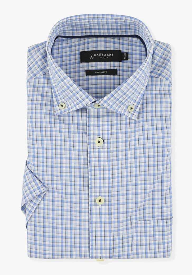Chemise blanche à carreaux bleus - comfort fit