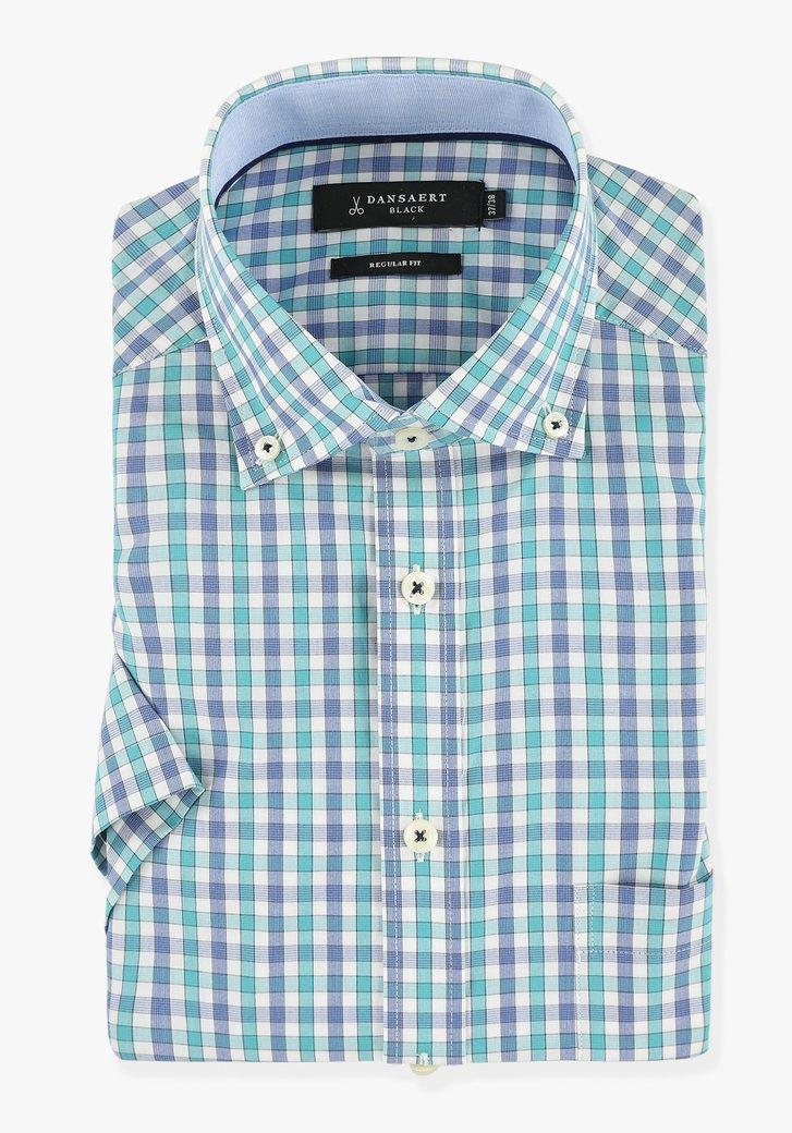 Chemise blanche à carreaux bleus - regular fit
