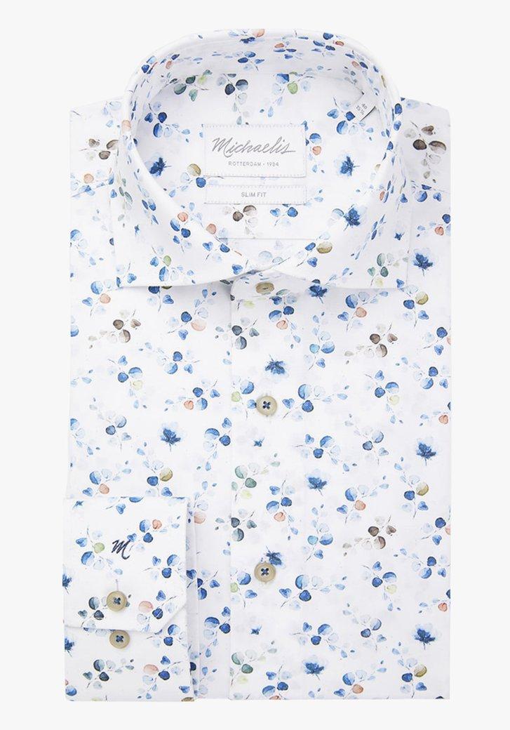 Chemise blanche à feuilles colorées – slim fit