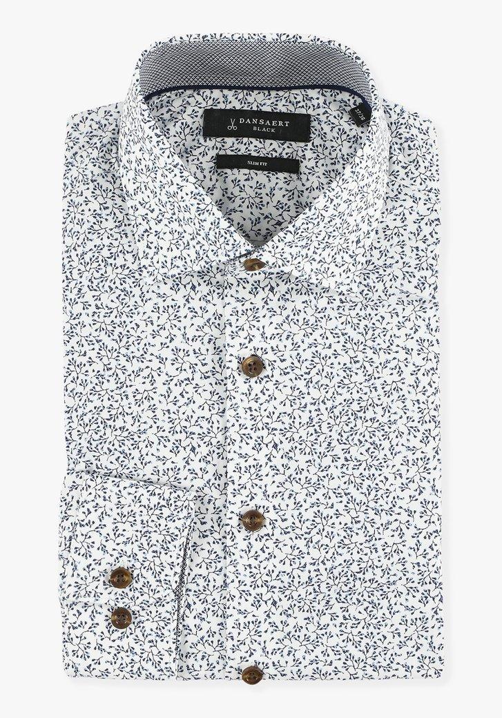 Chemise blanche à fines fleurs - slim fit