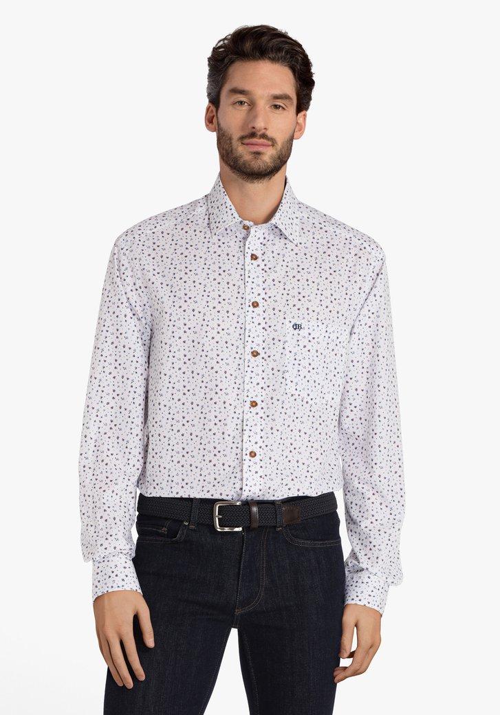 Chemise blanche à fleurs bleu clair - comfort fit