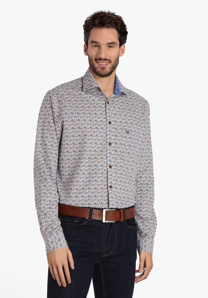 Chemise blanche à fleurs bleu-or - regular fit