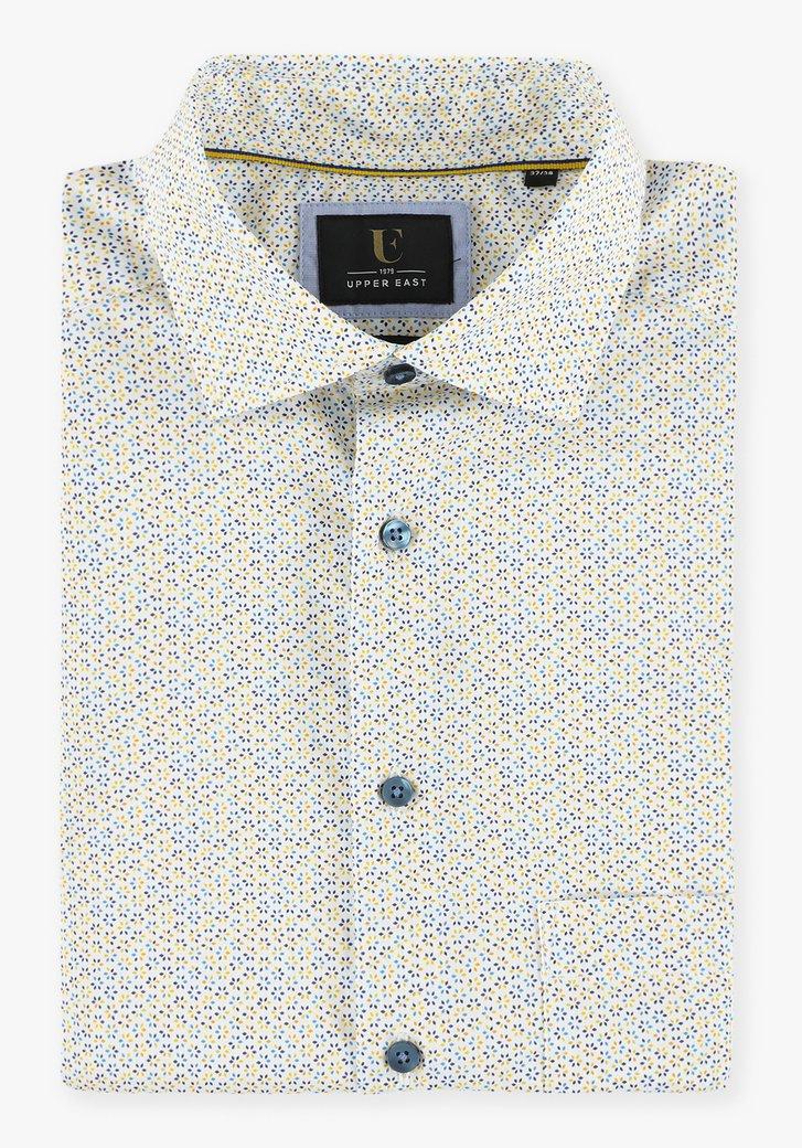 Chemise blanche à fleurs jaune-bleu - regular fit