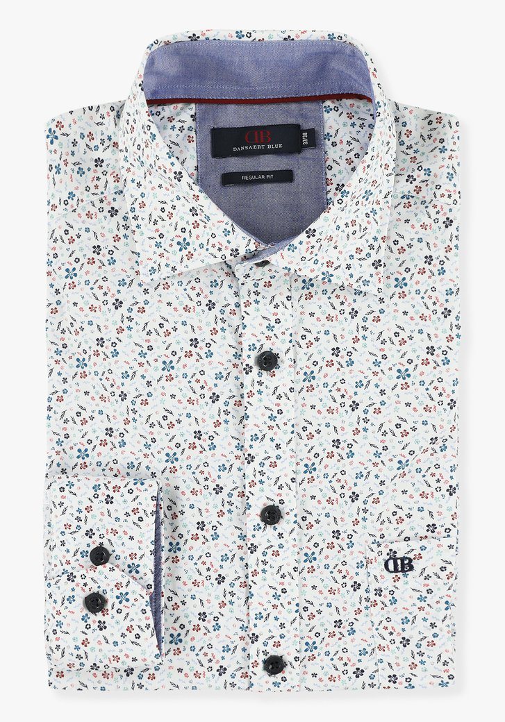 Chemise blanche à fleurs - regular fit