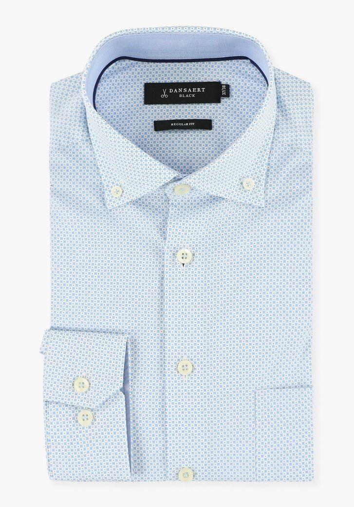 Chemise blanche à imprimé bleu clair - regular fit