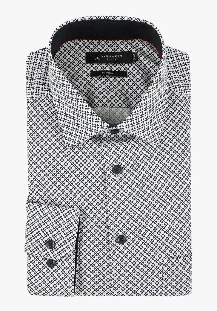 Chemise blanche à imprimé bleu foncé - comfort fit