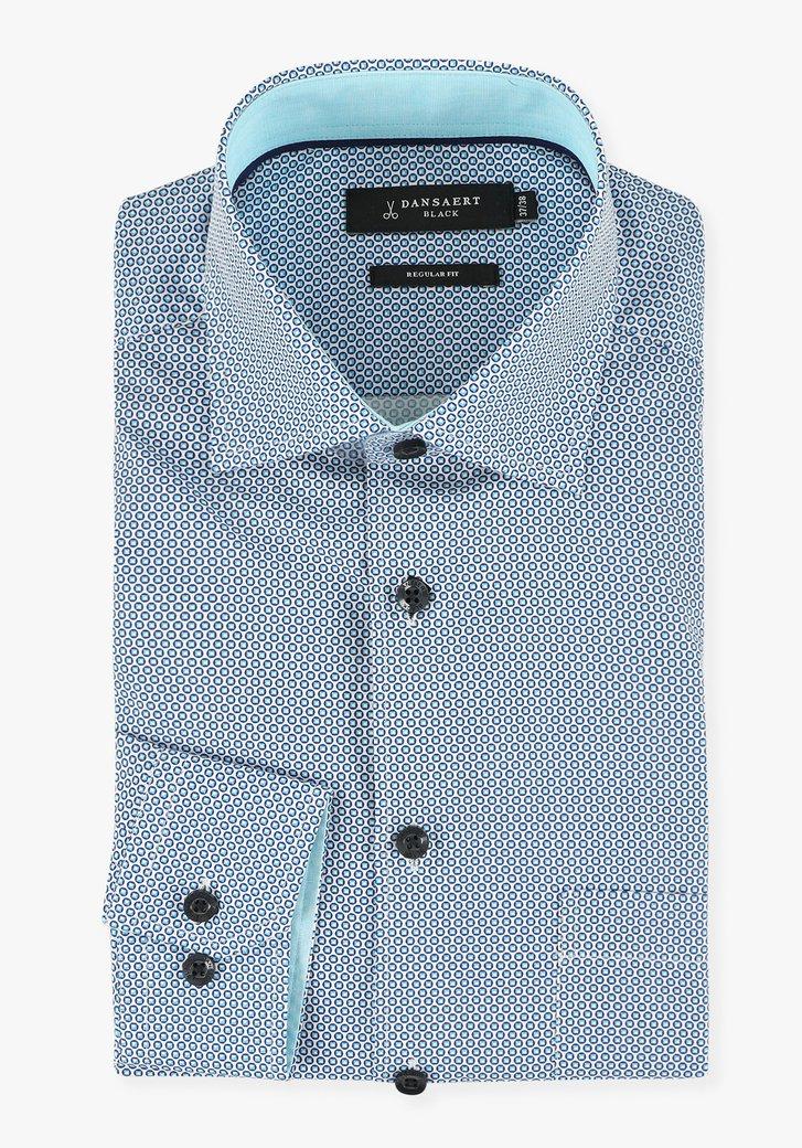 Chemise blanche à imprimé bleu rond - regular fit