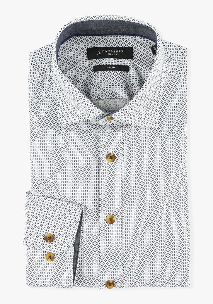 Chemise blanche à imprimé bleu - slim fit