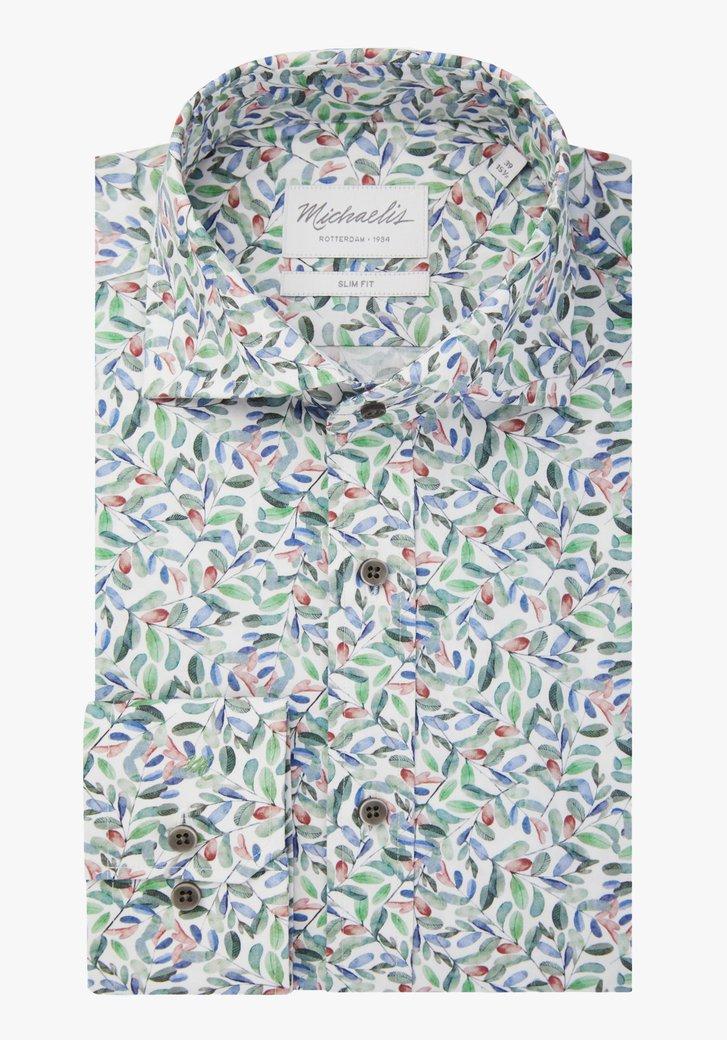 Chemise blanche à imprimé de feuilles - slim fit