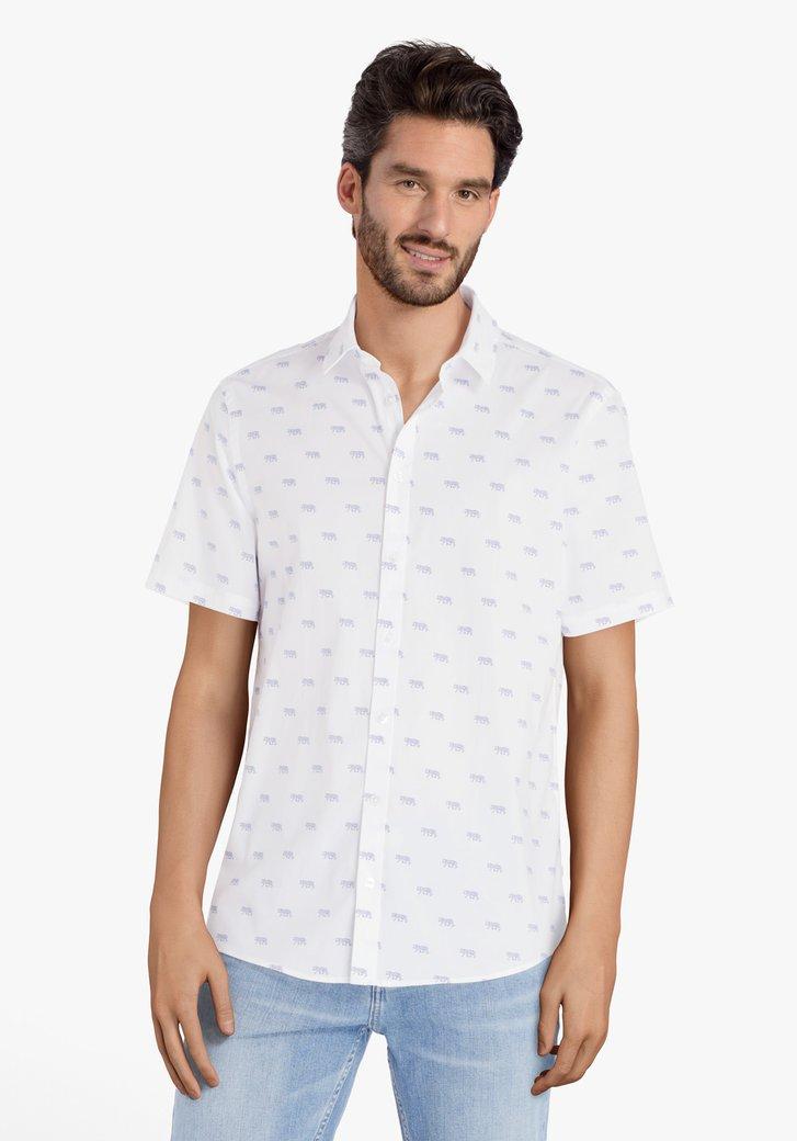 Chemise blanche à imprimé tigres bleus - slim fit