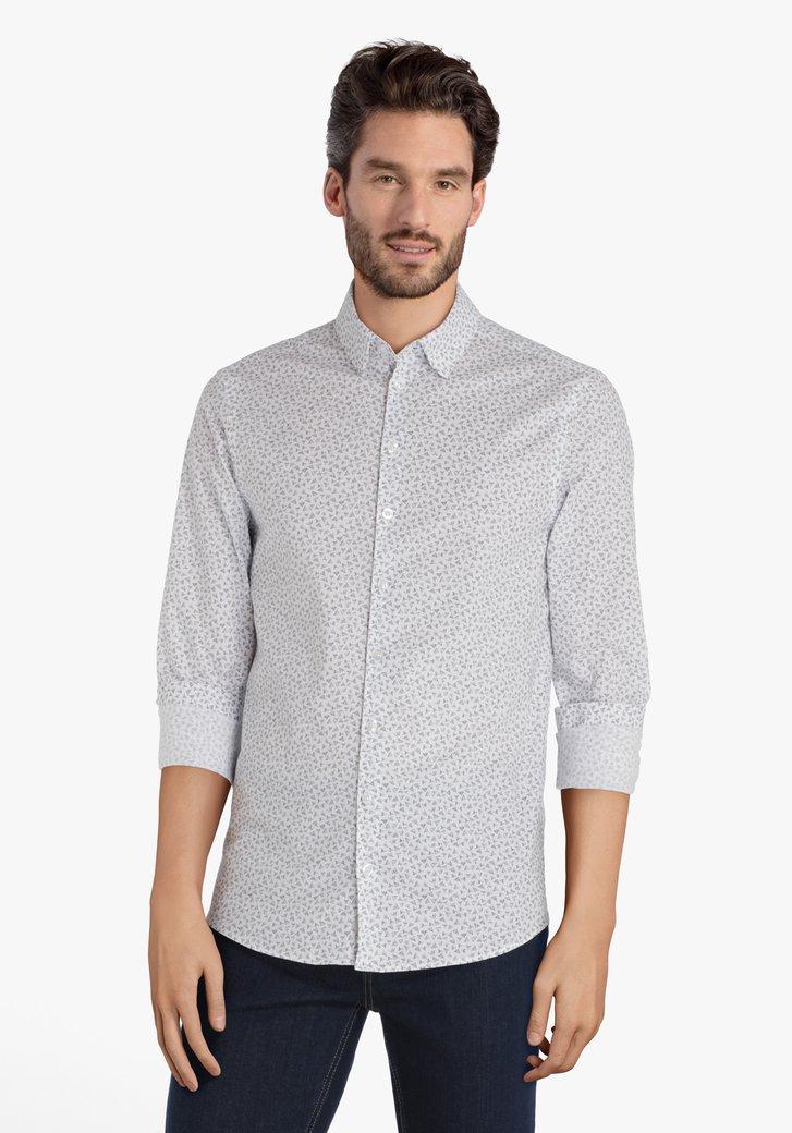 Chemise blanche à noir motif fin - slim fit