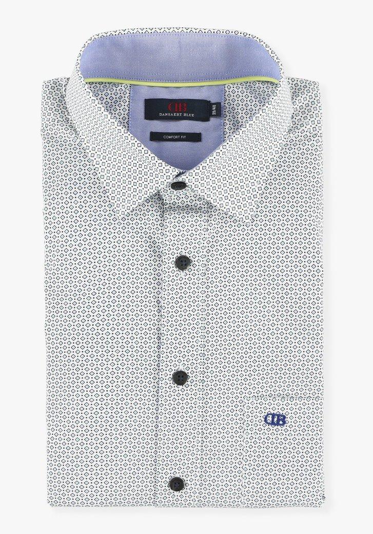 Chemise blanche à petit imprimé bleu- comfort fit