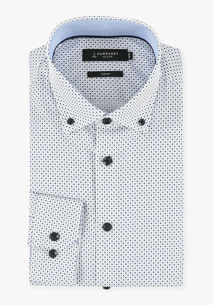 Chemise blanche à petit motif bleu - slim fit