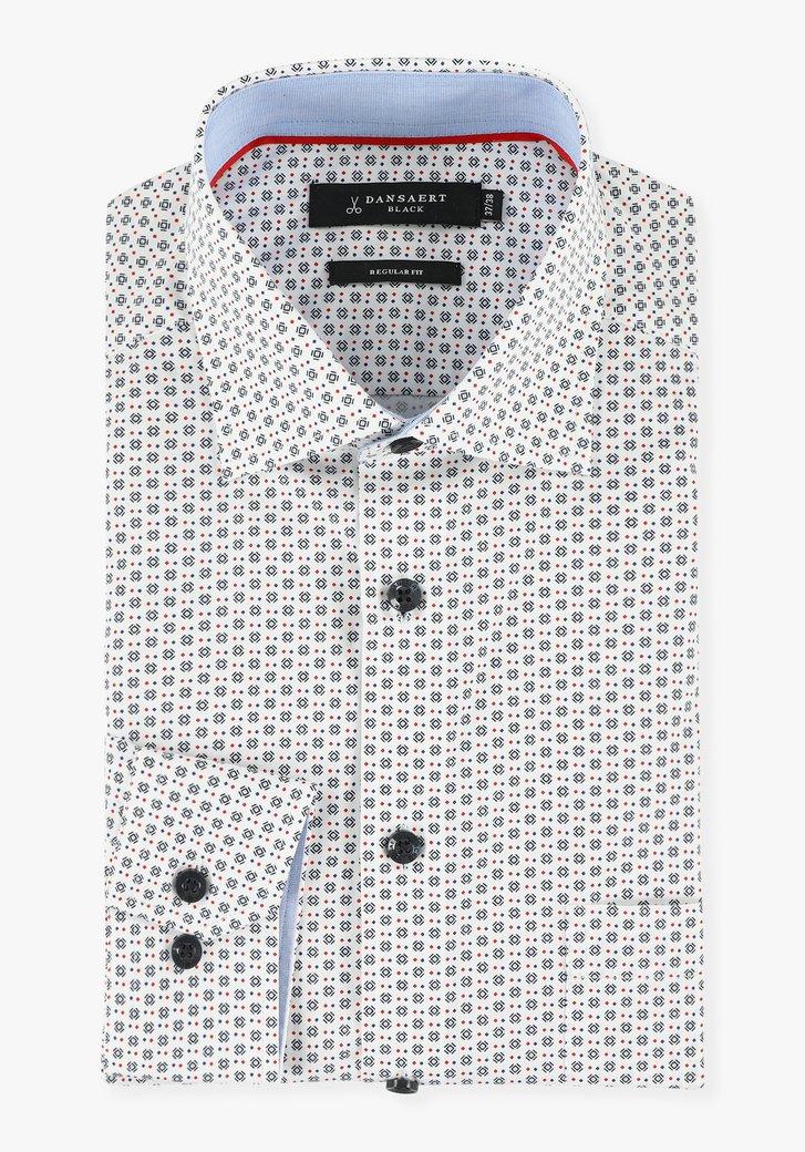 Chemise blanche à petits motifs bleus-regular fit