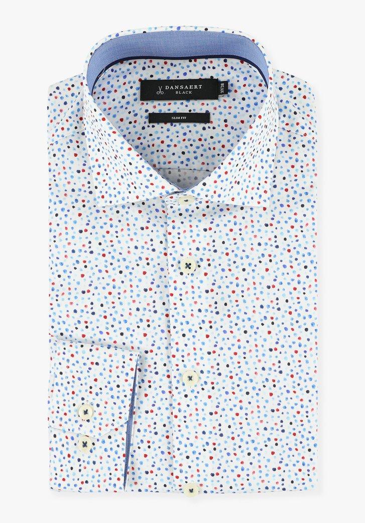 Chemise blanche à pois bleus et rouges - slim fit