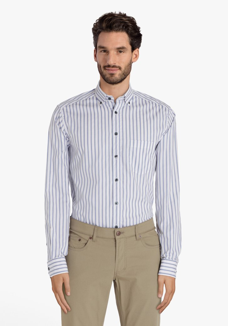 Chemise blanche à rayures bleues – regular fit