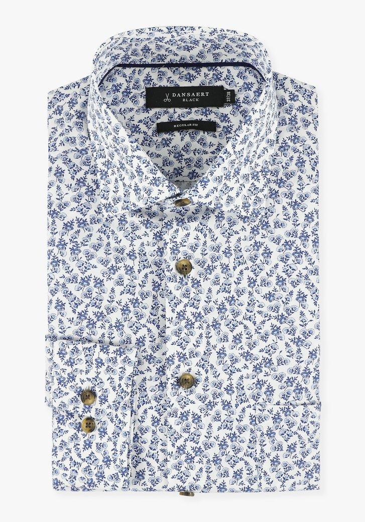 Chemise blanche à roses bleu marine - regular fit