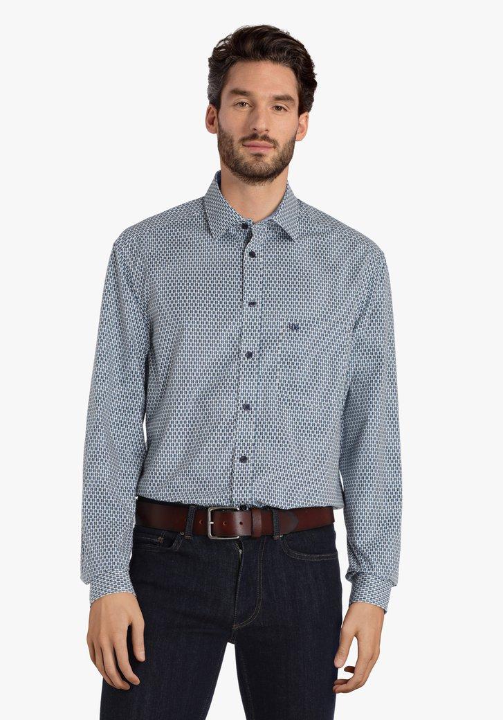 Chemise blanche avec imprimé bleu