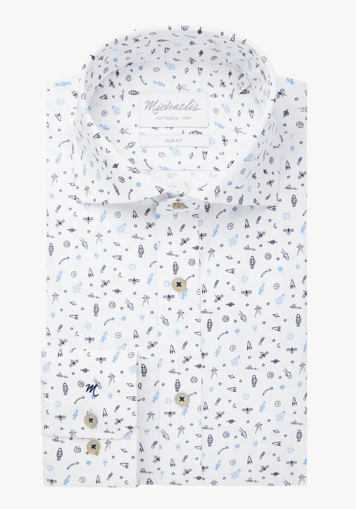 Chemise blanche avec motif de planètes – slim fit
