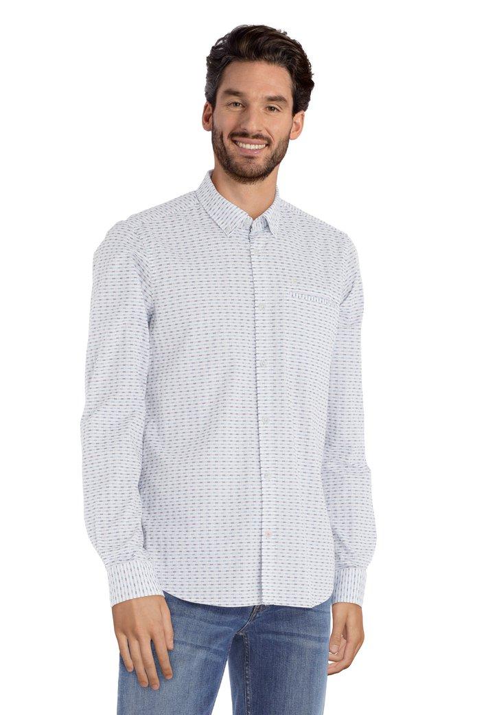 Chemise blanche avec motif vert/bleu foncé
