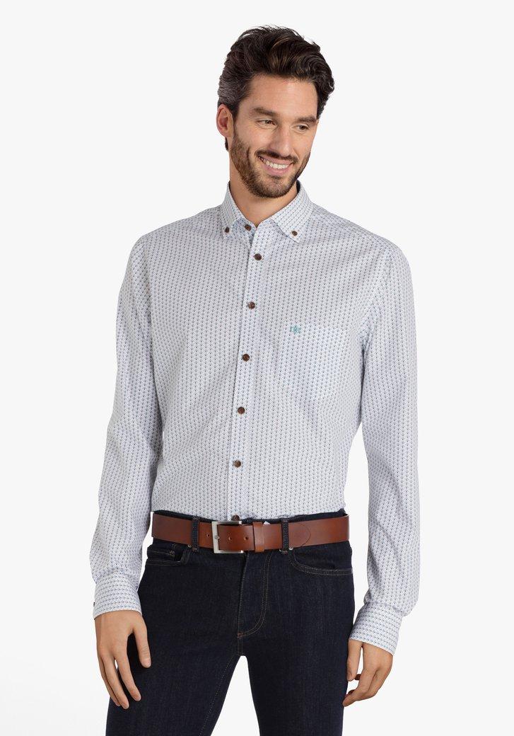 Chemise blanche avec motifs bleus - regular fit