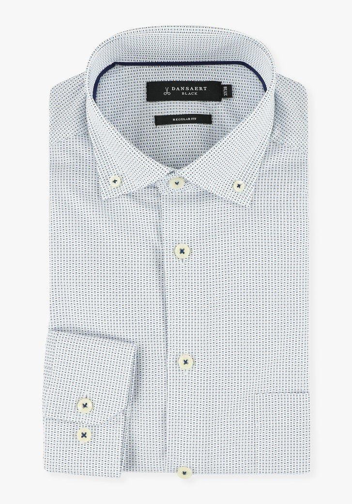Chemise blanche imprimée en bleu - regular fit