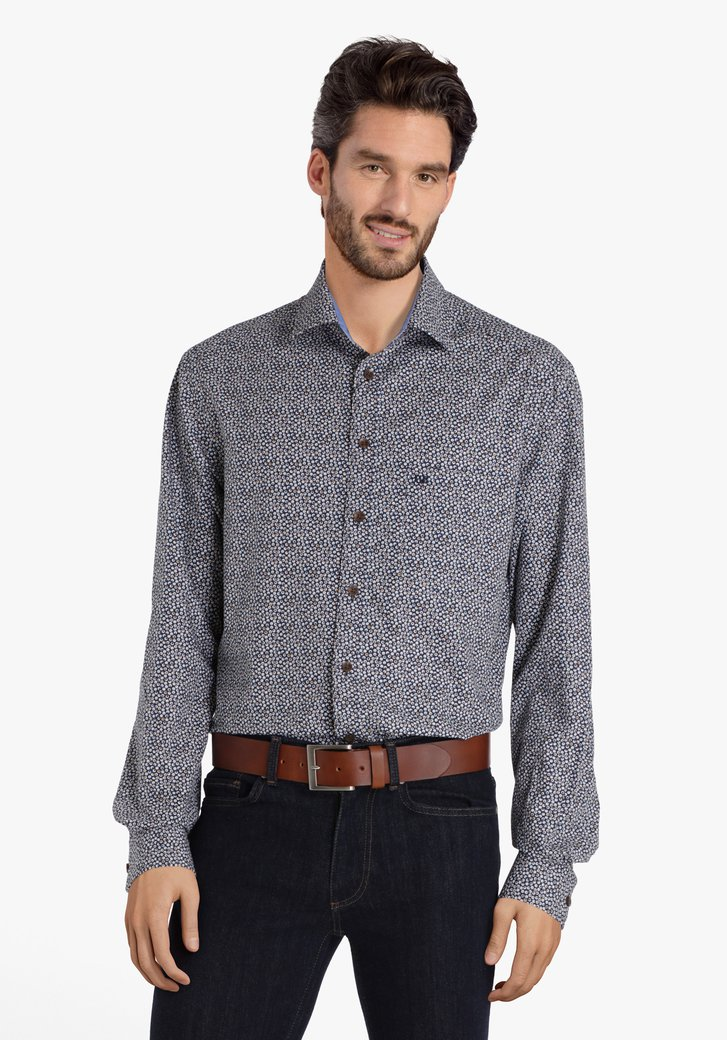 Chemise bleu avec des petites boules - comfort fit