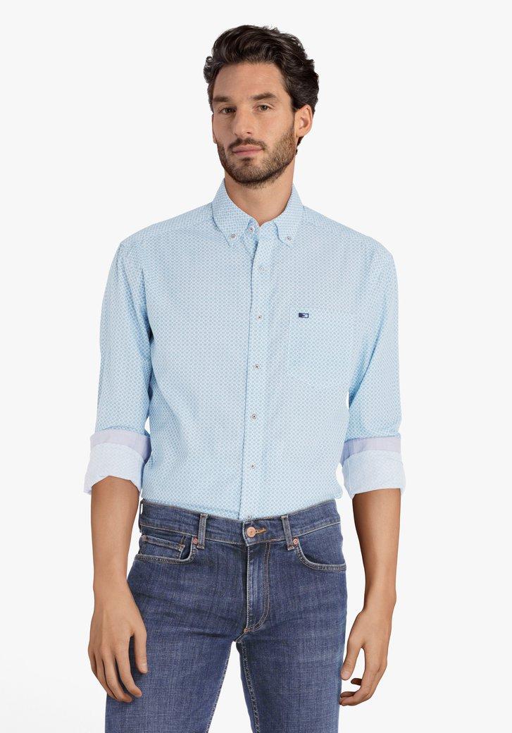 Chemise bleu clair à imprimé fin - regular fit