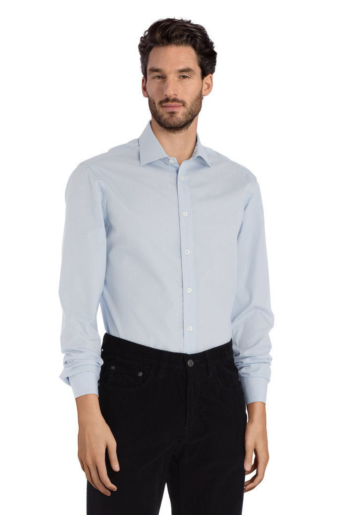 Chemise bleu clair à pois – slender fit