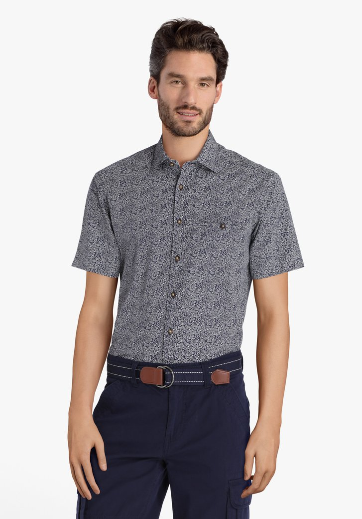 Chemise bleu foncé à fleurs blanches - regular fit